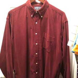 Maroon corduroy button up by Polo